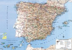 Detailed road map of Spain. Spain detailed road map   Vidiani.com ...