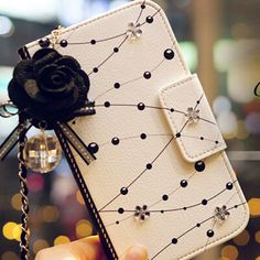 Chain Dust plug Diamond Crystal Flower Leather Case Flip Card Wallet Cover for Samsung Galaxy Note 4 3 S4 S5 S6 Edge Coque Capa