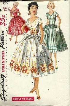 Vintage 1955 V Neck and Back Full Gathered SkirtParty by sydcam123, $16.00