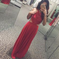 Charming Prom Dress,Sexy Red Prom Dress,Chiffon Evening Dress,Long
