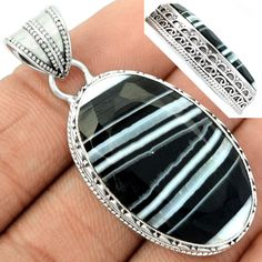 Faceted Black Banded Agate 925 Sterling Silver Pendant Jewelry BBFP21