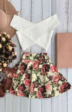 Super Cute! White Cross Over Crop Top and Floral A Line Skirt Twinset #Summer #White #Crossover #Top #Floral #Skirt #Twinset #Fashion