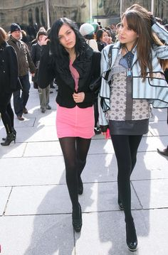 winter fashion, like the black jacket, and pink dress, with black tights