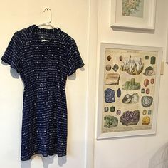 Vintage 80s dress - Navy sheer with white font detail