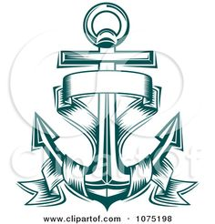 anchor banner tattoos | Clipart Teal Nautical Anchor And Banner Logo - Royalty Free Vector ...