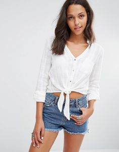 Image 1 ofRiver Island Tie Front Blouse