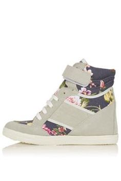 Floral wedge trainers