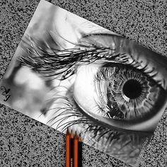 Eye drawing, cool artwork, amazing drawings, amazing art, cool pencil d Pencil Drawing Tutorials, Pencil Art Drawings, Art Drawings Sketches, Eye Drawings, Amazing Drawings, Cool Drawings, Amazing Art, Eyes Artwork, Cool Artwork