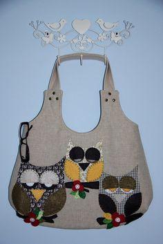 owl purse/owl family applique large hobo bag/ hobo bag / shoulder bag/multicolor owls applique/ready to ship. $70.00, via Etsy.