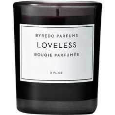 Byredo Parfums Loveless Fragranced Candle 80g (€26) ❤ liked on Polyvore featuring home, home decor, candles & candleholders, fillers, fillers - black, black, candles, black home decor, byredo and black candles