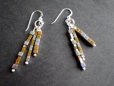 Gold and Silver Hematite Earrings by silversunstudiobiz on Etsy, $22.00