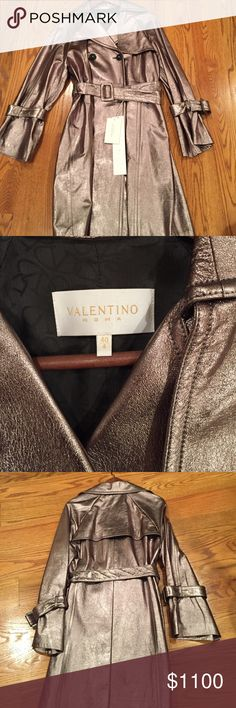Valentino Leather Trench coat Valentino metallic leather trench coat. Gorgeous never worn with tags. Double breasted with belt detail on sleeves. Valentino Jackets & Coats Trench Coats