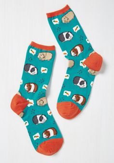 Guinea a Break! Socks - Blue, Multi, Print with Animals, Print, Casual, Critters, Spring, Summer, Fall, Winter, Better