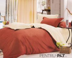 Lenjerie de pat bumbac satinat Casa New Fashion UNI crem si caramiziu New Fashion, Comforters, Blanket, Bed, Furniture, Home Decor, Creature Comforts, Homemade Home Decor, Blankets