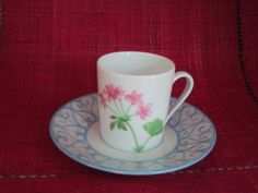 expresso cup and saucer, geranium hand painted flower, Limoges porcelain