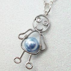 Mommy's Little Boy Pendant On A Silver Chain  by Kikiburrabeads, $16.50