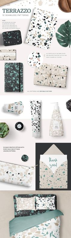 Terrazzo Patterns by Youandigraphics on @creativemarket 12 Terrazzo Seamless Vector Patterns! They are fully editable (through Adobe Illustrator), all elements of each color are grouped together so you can easily change the colors to suit your projects! They can be ideal as backgrounds for branding projects, packaging, fashion apparel, posters, leaflets or just try them as web backgrounds with great results!