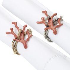 """L'Objet """"Coral"""" napkin rings"""