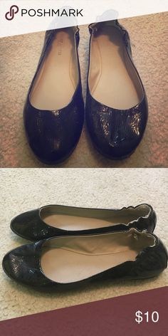 Black patent leather flats, size 8 Black patent leather flats with elastic heel, size 8. Only worn a few times! Purchased from Target. Mossimo Supply Co. Shoes Flats & Loafers