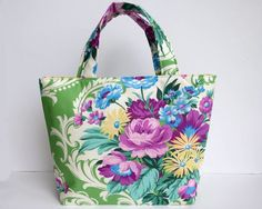 Women's Handbag, Tote Bag, Handmade Bag, Contains Pocket & Magnetic Button Closure, Beautiful Colourful Floral Fabric, Gift Idea for Women by RachelMadeBoutique on Etsy https://www.etsy.com/au/listing/267754255/womens-handbag-tote-bag-handmade-bag