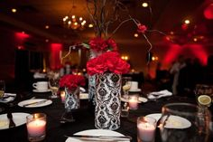 black white red wedding table decorations