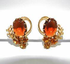 Elegant Vintage Rhinestone Earrings Smoke by SparklyKreations