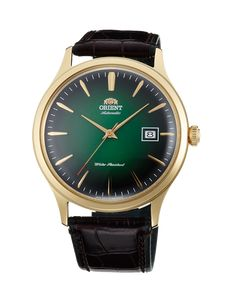 Orient Bambino version 4 dress watch features a new automatic movement that hand winds and hacks. It has a vibrant green dial and a goldtone case. Cool Watches, Rolex Watches, Watches For Men, Wrist Watches, Orient Watch, Swiss Army Watches, Citizen Watch, Elegant Watches, Stylish Watches