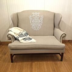 vintage mahogany chippendale wingback settee loveseat in beige linen with hand painted