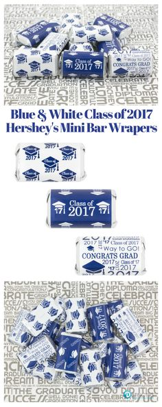 Add these Blue Class of 2017 Graduation Party Favor Stickers to Hershey's miniature candy bars for a simple and easy graduation party favor, candy bar or dessert table decoration.