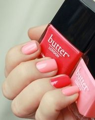 """butter london in """"macbeth"""" & """"trout pout"""" {cute valentine's day manicure} Pink and Rosie red nails Love Nails, How To Do Nails, Fun Nails, Pretty Nails, Butter London, London Nails, Nails Polish, Pink Polish, Manicure E Pedicure"""