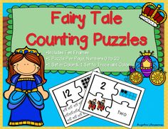 Counting: Fairy Tale Number Puzzles •	Your students will have fun finding the corresponding number, ten frame, objects, and number word for values from 0 to 20. •	Tracing, cutting, and gluing... Guaranteed to help develop their fine motor skills. •	Includes one set in color and another trace and color set.