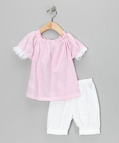 Take a look at this Pink & White Peasant Top & Bloomers - Infant by Lil Cactus on #zulily today!