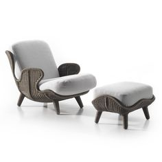 Available for sale from Twenty First Gallery, Mattia Bonetti, Siesta Armchair Rattan base with upholstered seat, 35 × 41 × 29 in Rattan Furniture, Home Furniture, Furniture Design, Outdoor Furniture, Modern Upholstery Fabric, Upholstery Repair, Contemporary Armchair, Contemporary Furniture, Modern Contemporary