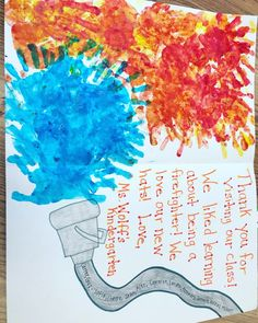 Firefighters thank you card for community helpers week