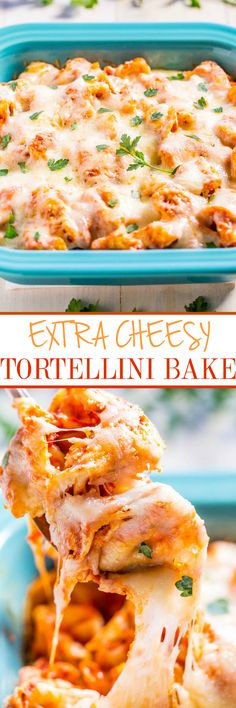 Extra Cheesy Tortellini Bake - Three-cheese tortellini baked with pasta sauce AND 3 more cheeses!! Cheese lovers will adore this easy comfort food that's ready in 30 minutes!!