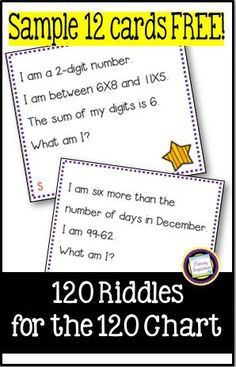 Enjoy this free sample set  of riddle task cards for third grade math!  This engaging activity is packed with opportunities for mental math, and spiraled review of addition, subtraction, early multiplication, comparing numbers, geometry, money, and more! Great for a math center, lesson warm-up, tutors, number talks, and small group work. Second Grade Math, Third Grade Math, 120 Chart, Math Task Cards, Free Task Cards, Math Vocabulary, Maths, Comparing Numbers, Math Practices
