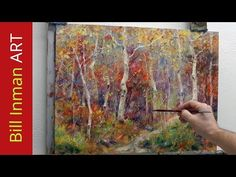 How to Paint Aspen Trees - 'Rocky Mountain Dream' - Fast Motion Art Video w Music by Bill Inman - YouTube