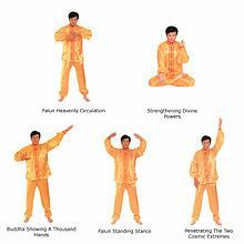 Falun Gong isn't related to yoga, but I am going to try these five exercises before my yoga practice when I get home from work tonight. Falun Gong - Wikipedia, the free encyclopedia Types Of Meditation, Mindfulness Meditation, Japanese Buddhism, Qigong, Spiritual Practices, How To Increase Energy, Tai Chi, Alternative Medicine, How To Relieve Stress