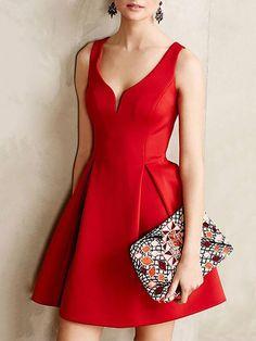 Elegant V Neck Folded Tunic Dress