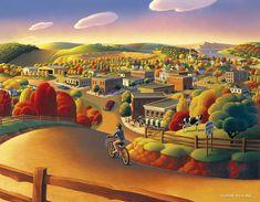 Autumn Painting - Friendly by Robin Moline Autumn Painting, Autumn Art, Farm Art, Naive Art, Abstract Backgrounds, Minneapolis, Landscape Art, Art Pictures, Fine Art America