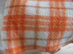 Vintage wool blanket woolen blanket orange by wolfdutchcreations, €35.00