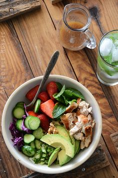 Chicken Salad Bowl with Avocado, Strawberry, and Walnut {Paleo} by anediblemosaic #Salad #Chicken #Avocado #Strawberry #Walmut #Healthy #Paleo