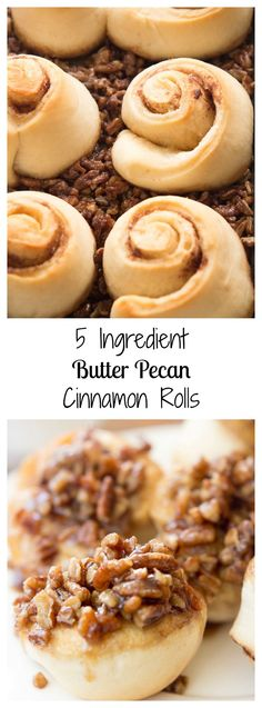 Made with only 5 ingredients, these butter pecan cinnamon rolls are delicious and a cinch to make and are sure to be a family favorite.