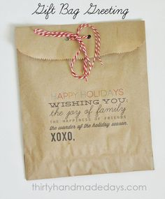 Christmas food gift bag,but would also be cute for gift cards.