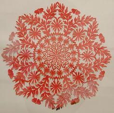 wycinanki  ... Polish paper cutting ... red ... mandala style ...