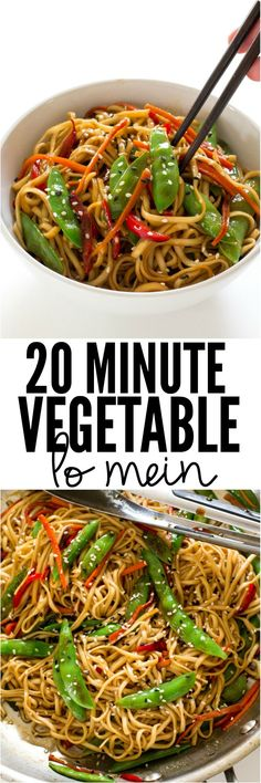 Vegetable Lo Mein 20 Minute Vegetable Lo Mein is a super easy weeknight dinner that is loaded with veggies! The entire family will love Minute Vegetable Lo Mein is a super easy weeknight dinner that is loaded with veggies! The entire family will love it! Veg Recipes, Asian Recipes, Cooking Recipes, Healthy Recipes, Recipies, Dinner Recipes, Dinner Ideas, Easy Vegitarian Recipes, Egg Roll Recipes