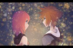 kingdom hearts, kairi and sora by jyaco