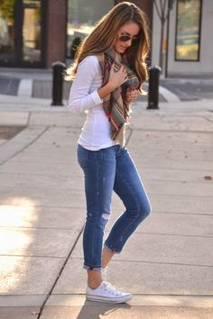 White Converse, Cropped Jeans, White Long Sleeve Top, Plaid Scarf.