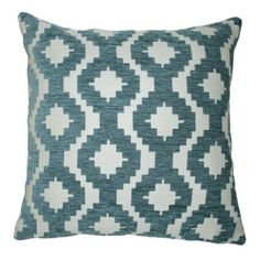 McAlister Textiles Arizona Wedgewood Blue 24 Inches Pillow Case, Tribal Abstract Design Chenille Throw Cushion Cover for Bedroom Sofa Living Room, Geometric Cushions, Blue Cushions, Velvet Cushions, Scatter Cushions, Decorative Throw Pillows, Cushion Pads, Throw Pillow Covers, Studio, Textiles
