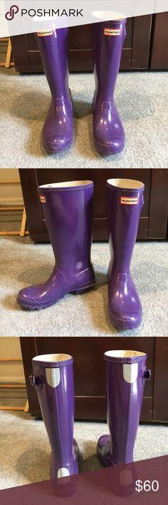 Hunter Rain Boots Glossy Purple Hunter Rain Boots. Kids height but women's size 6. Hunter Boots Shoes Rain & Snow Boots